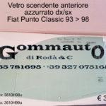 Vetro scendente anteriore destro/sinistro Fiat Punto 93 > 98