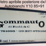 Vetro apribile posteriore destro/sinistro Autobianchi Y10 85 > 91