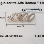Fregio scritta Alfa Romeo '' 1300'' mm 73 x 25