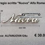 Fregio scritta '' Nuova '' Giulia Alfa Romeo  mm 124 x 34