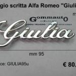 Fregio scritta Alfa Romeo ''Giulia''  mm 95 x 35