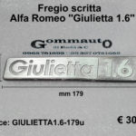 Fregio scritta Alfa Romeo ''Giulietta 1.6''  179 x 35