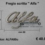 Fregio scritta Alfa Romeo '' Alfa ''  mm 80 x 43