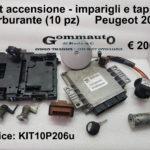 Kit accensione - imparigli e tappo carburante (10pz)  Peugeot 206  98>