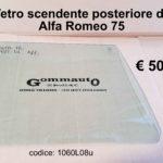 Vetro scendente posteriore dx / sx Alfa Romeo 75  85>92