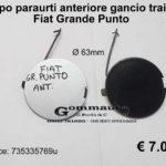 Tappo paraurti anteriore gancio traino Fiat Grande Punto ∅ 63 mm