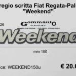 Fregio scritta Fiat Regata / Palio '' Weeekend ''  mm 150 x 26