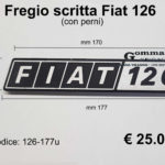 Fregio scritta Fiat 126 in metallo con perni  mm 177 x 31