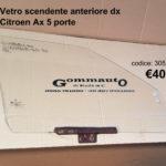 Vetro scendente anteriore dx Citroen Ax   86>98