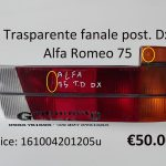 Trasparente fanale posteriore Dx arancio Alfa Romeo 75 83>88
