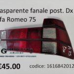 Trasparente fanale posteriore Dx rosso Alfa Romeo 75 88>93