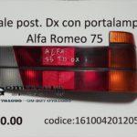 Fanale posteriore dx arancio con portalampade Alfa Romeo 75 83>88