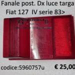 Fanale posteriore Dx luce targa Fiat 127 IVª serie 83>