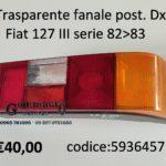 Trasparente fanale posteriore Dx Fiat 127 82>83
