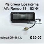 Plafoniera luce interna Alfa Romeo 33  83>94