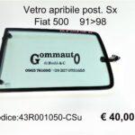 Vetro apribile post.Sx completo Fiat 500