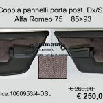 Coppia pannelli porta posteriori Alfa 75
