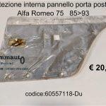 Protezione interna pannello porta post. Dx Alfa 75